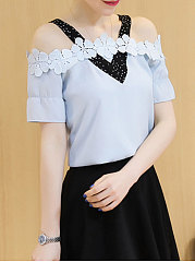 Summer  Chiffon  Women  Open Shoulder  Decorative Lace  Plain  Short Sleeve Blouses