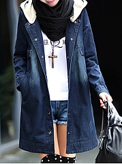 Hooded  Single Breasted  Plain  Long Sleeve Jean Coats
