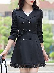 Lapel Double Breasted Pocket Plain Trench Coat