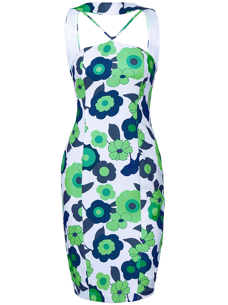 Designed Floral Printed Bodycon Dress