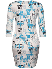 Round Neck Trendy Style Letters Printed Bodycon Dress