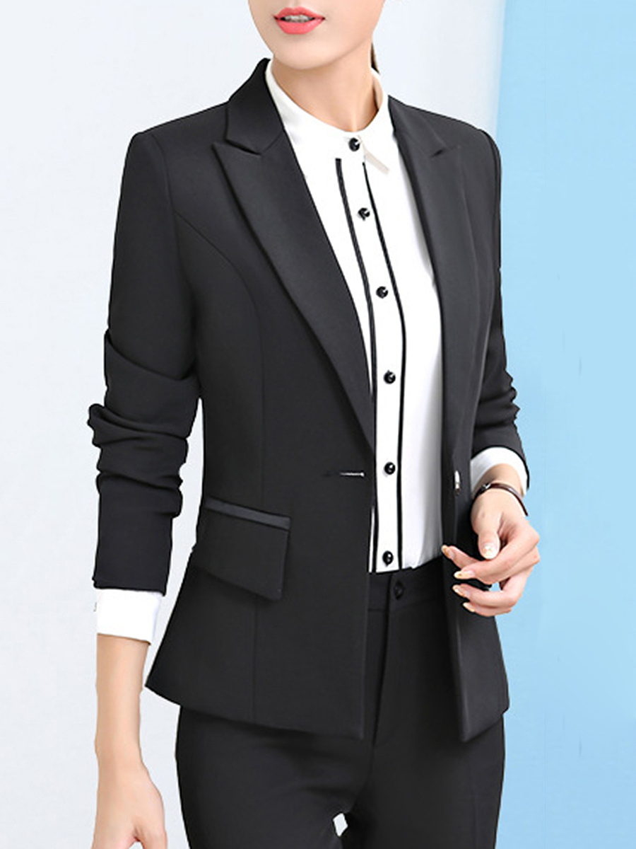 Notch Lapel Plain Single Button Blazer