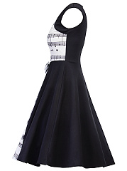 ... Square Neck Music Stave Printed Bow Skater Dress ...