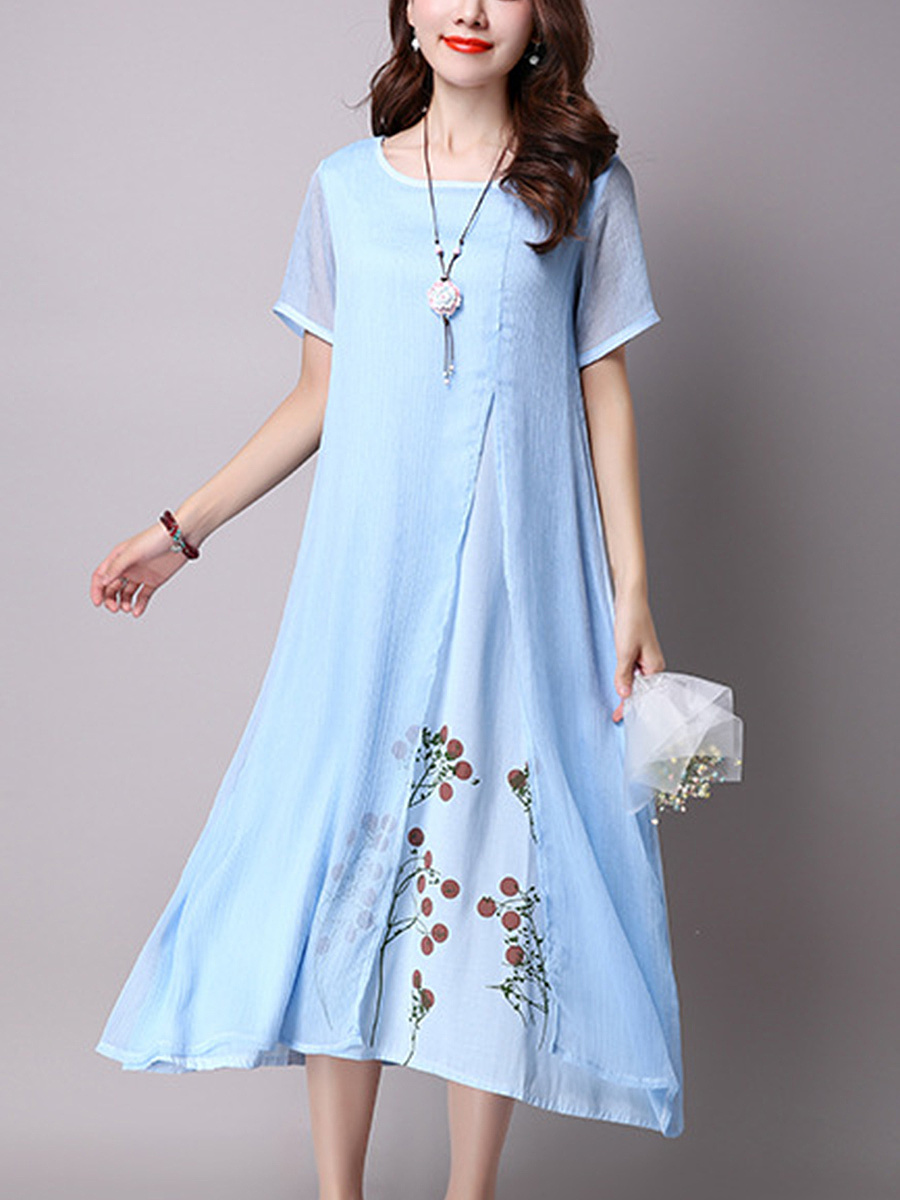 Round Neck Floral Hollow Out Midi Shift Dress