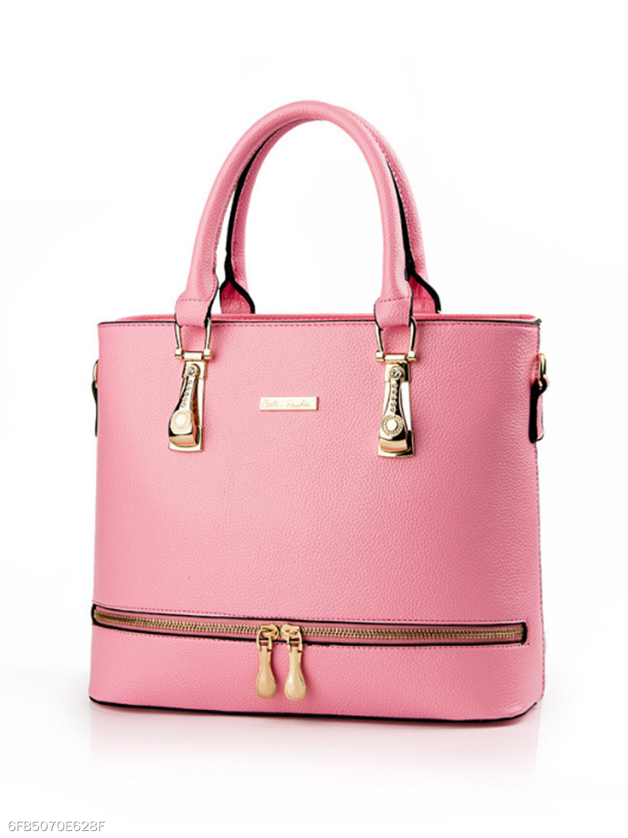Candy Color Zip Pu Shoulder Bag