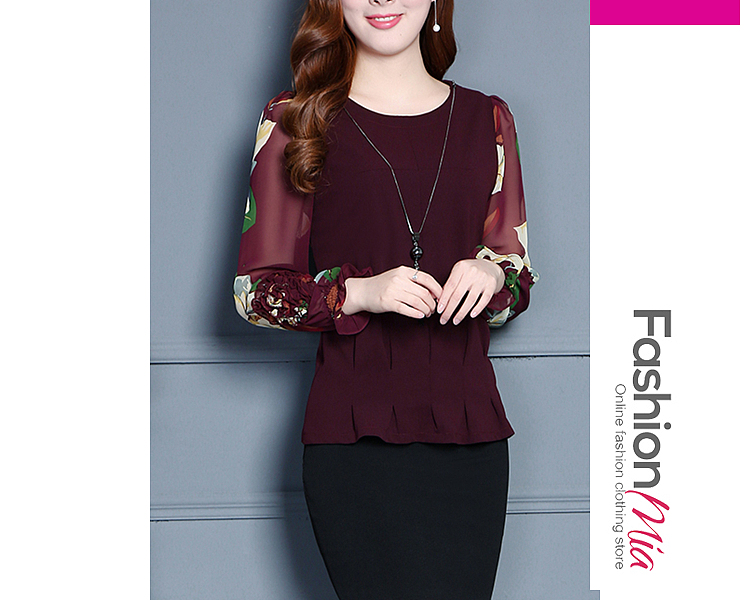 gender:women, hooded:no, thickness:regular, brand_name:fashionmia, style:elegant,fashion, material:chiffon, collar&neckline:round neck, sleeve:long sleeve, pattern_type:floral,plain, occasion:casual,date, package_included:top*1, lengthshouldersleeve lengthbust