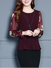 Round Neck  Floral Plain Long Sleeve T-Shirts