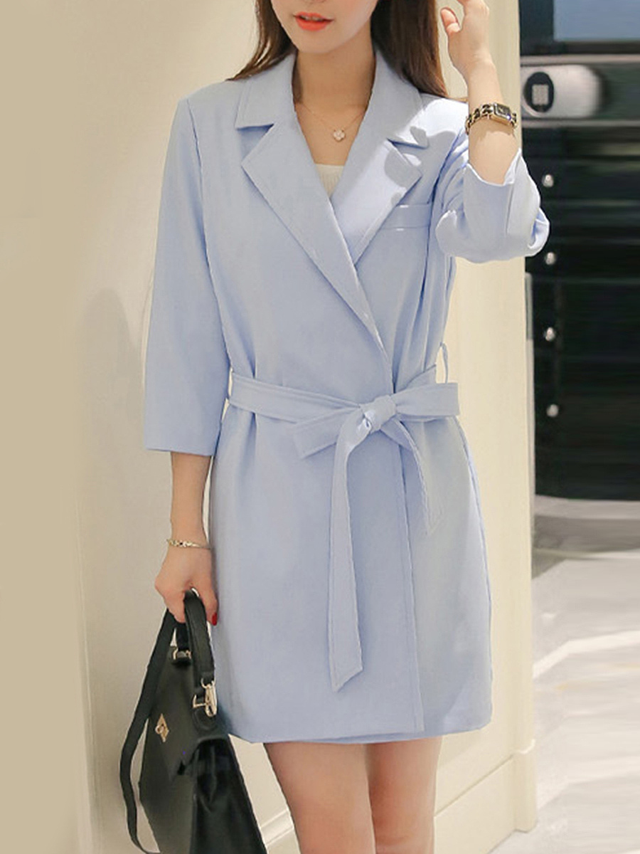 Longline Lapel Plain Belt Wrap Blazer