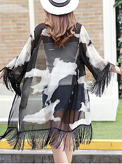 Fringe See-Through Longline Printed Kimono