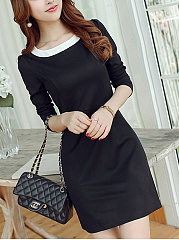 Date Round Neck  Color Block Shift Dress