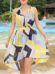 Asymmetric Hem  Print Three-Piece One Piece Swimdress