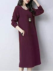 Thick Round Neck  Plain Shift Dress