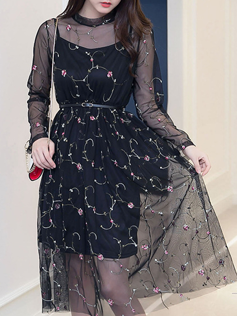 See-Through Embroidery Band Collar Midi Skater Dress