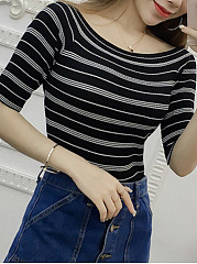 Round Neck  Striped  Half Sleeve Sweaters Pullover