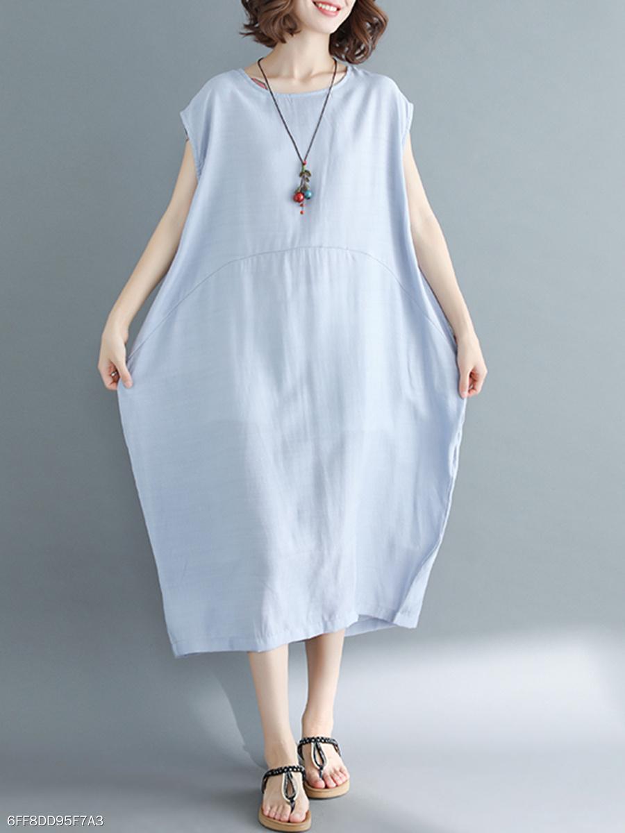6d4015d5c7c Round Neck Oversized Casual Plain Maxi Dress - fashionMia.com