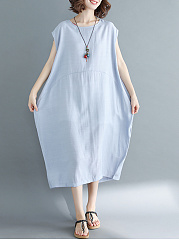 Round Neck Oversized Casual Plain Maxi Dress