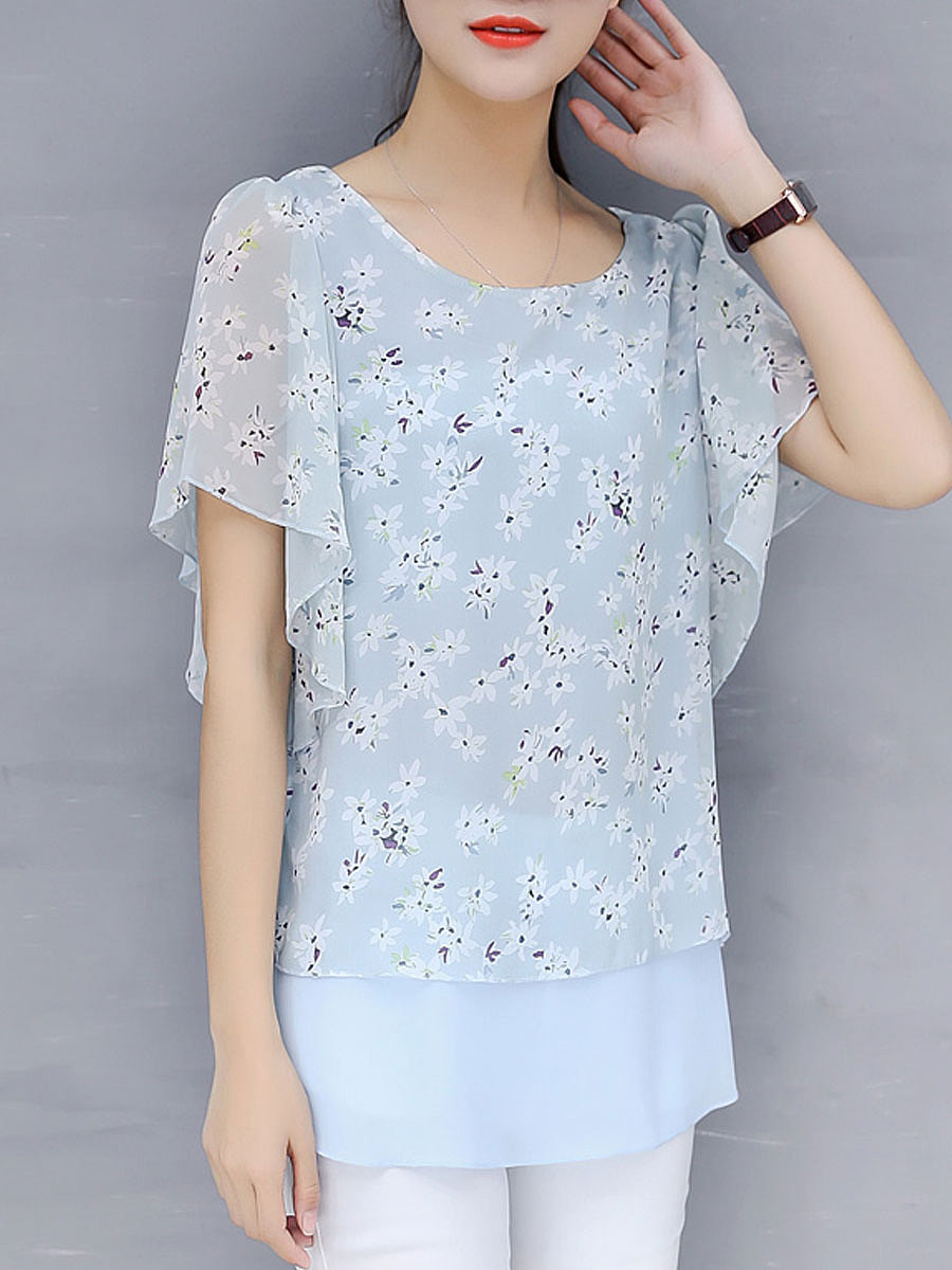 Spring Summer  Polyester  Women  Round Neck  Flounce Patchwork  Floral Printed  Short Sleeve Blouses