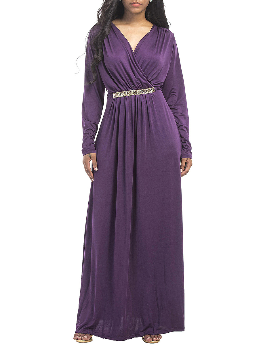 V-Neck Plain Decorative Hardware Maxi Dress