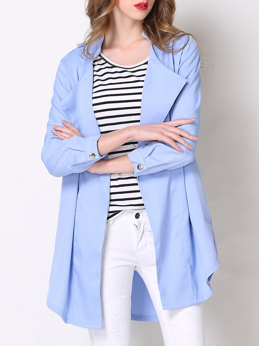 Lapel  Slit Pocket  Plain Trench Coats