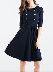 Round Neck Double Breasted Belt Plainskater Dress
