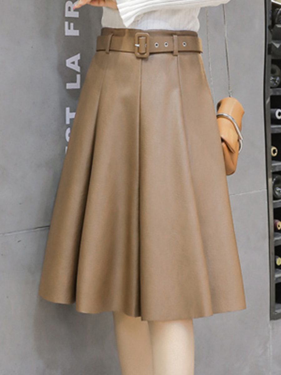 Plain PU Leather Flared Midi Skirt