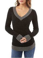 V-Neck  Asymmetric Hem Patchwork  Plain  Long Sleeve Sweaters Pullover