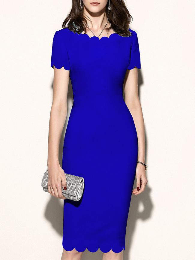 Image of Fashionmia Asymmetric Neck Cutout Plain Bodycon Dress