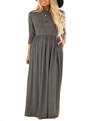 Round Neck  Elastic Waist Basic Plain Maxi Dress