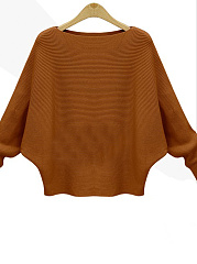 Round Neck  Plain  Batwing Sleeve  Long Sleeve Sweaters Pullover