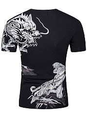 V-Neck Tiger Printed Men T-Shirt