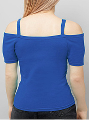 Spaghetti Strap  Plain  Short Sleeve Plus Size T-Shirts