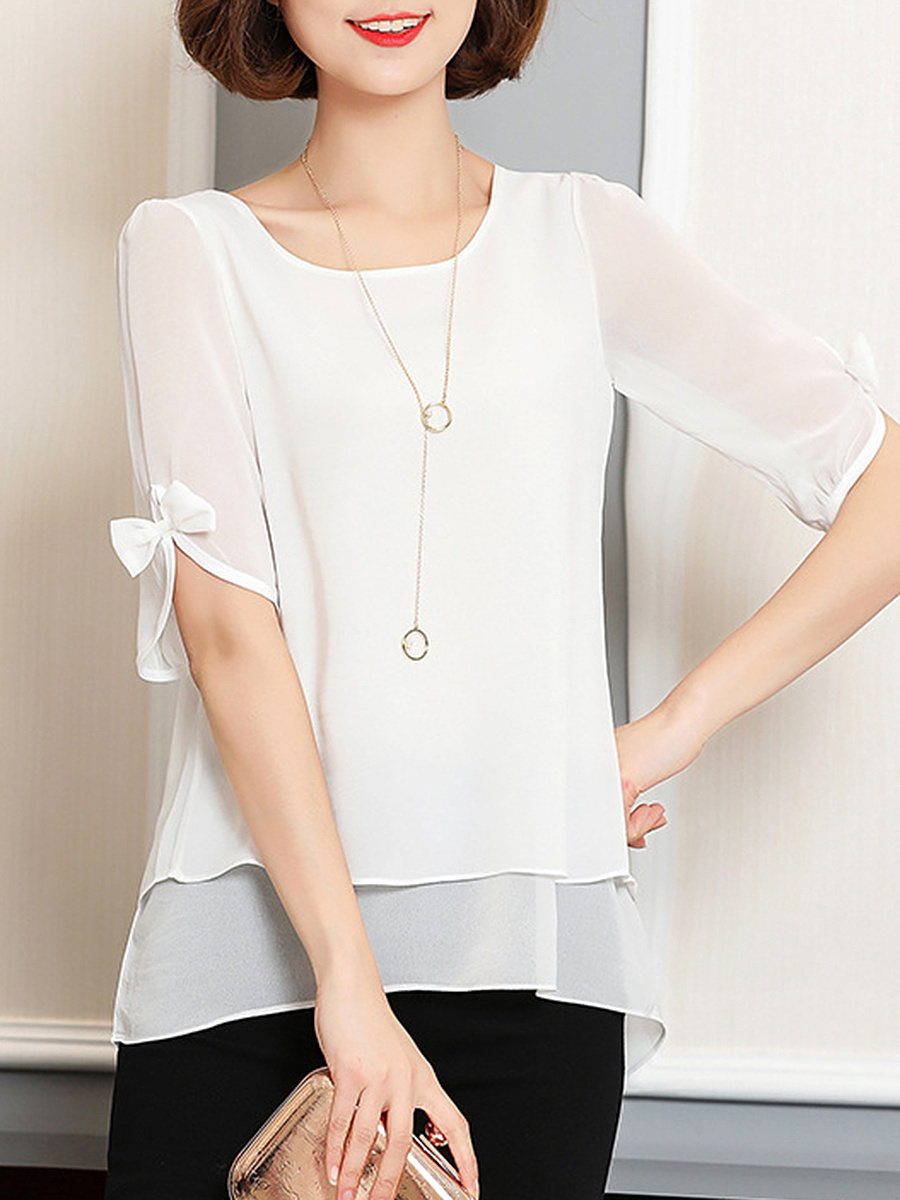 Round Neck  Plain Blouse With Bow Sleeve