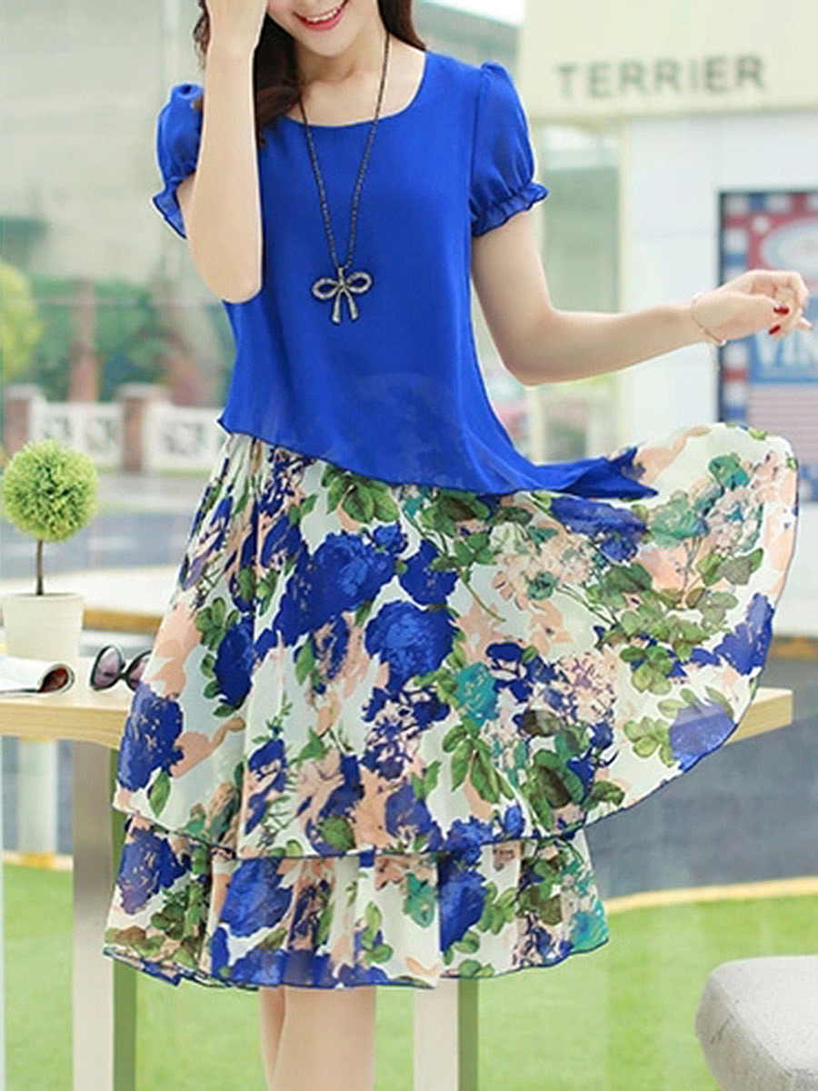 Flared Printed Chiffon Round Neck Maxi Dress