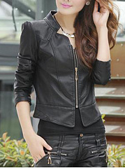 Plain Zips Faux Leather Biker Jacket