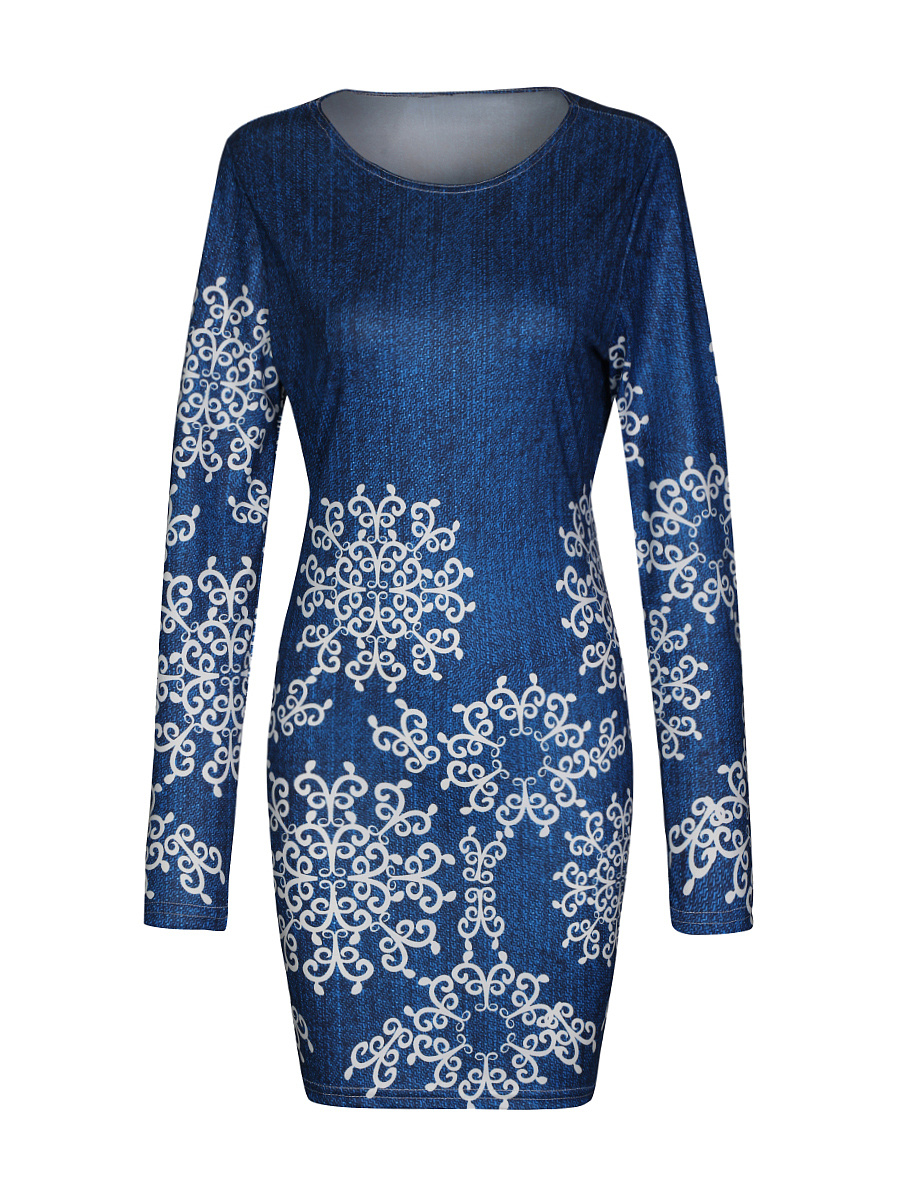 Chic Vintage Printed Round Neck Bodycon Dress