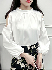 Autumn Spring  Polyester  Women  Open Shoulder  Plain  Long Sleeve Blouses