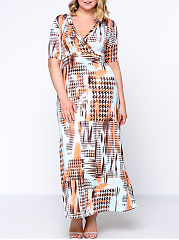 Houndstooth Printed Deep V-Neck  Plus Size Maxi Dress