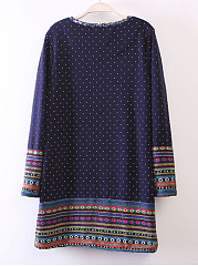 Round Neck  Tribal Printed Shift Dresses
