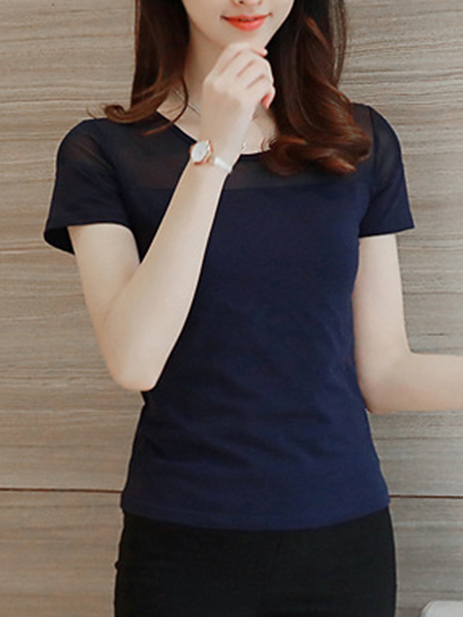 Round Neck  Hollow Out Plain Short Sleeve T-Shirt