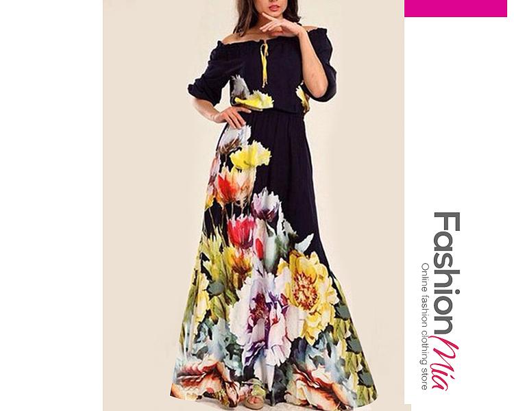 Off Shoulder  Elastic Waist  Printed Maxi Dress 70B8EA81FD79