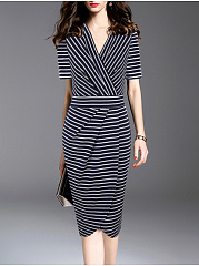 Surplice  Striped Bodycon Dress