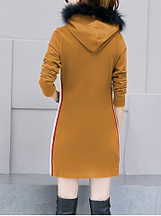 Hooded  Frayed Trim Kangaroo Pocket  Plain  Polyester Shift Dress