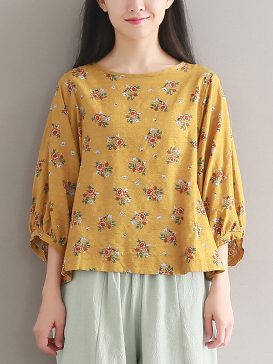Round Neck  Floral Printed  Puff Sleeve Blouse