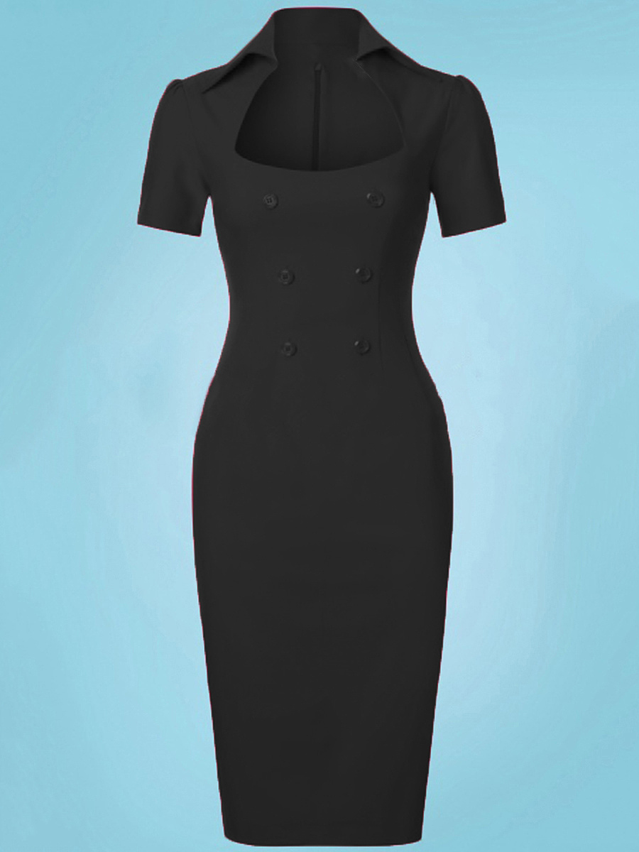 Fold-Over Collar  Double Breasted  Plain Bodycon Dress