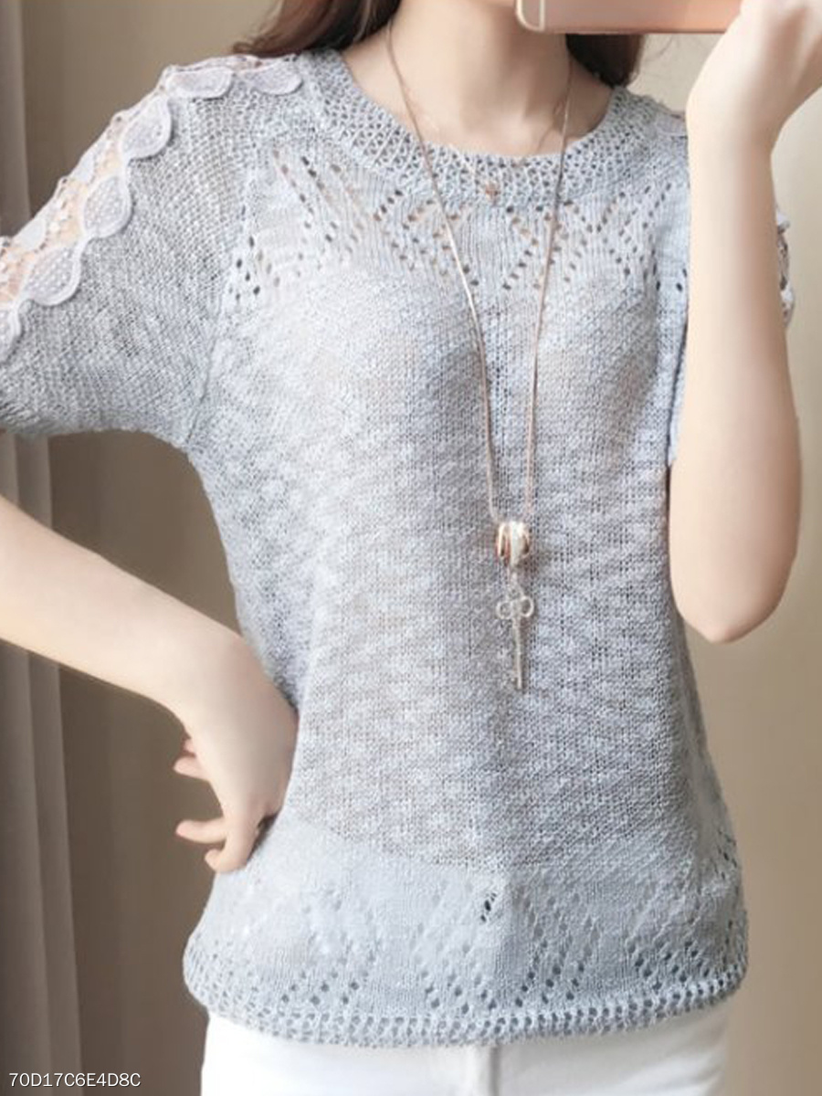 Summer  Knit  Women  Round Neck  Decorative Lace  Plain  Short Sleeve Short Sleeve T-Shirts