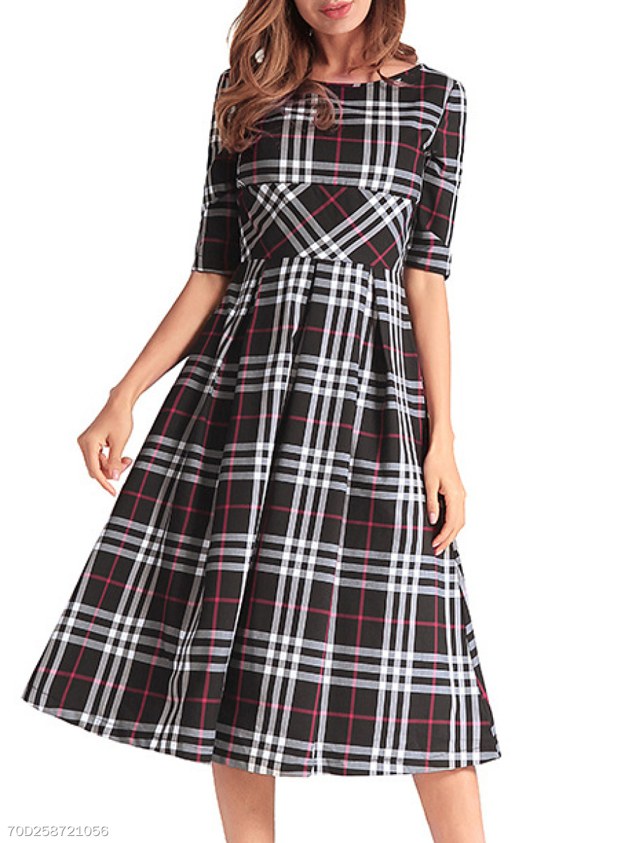 Round Neck  Ruched  Plaid Skater Dress