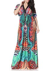 Empire  Printed Deep V-Neck  Elastic Waist Flared Plus Size Maxi Dress