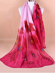 Women Voile Coral Flower Printing Scarf Casual Long Size Warm Soft Shawls