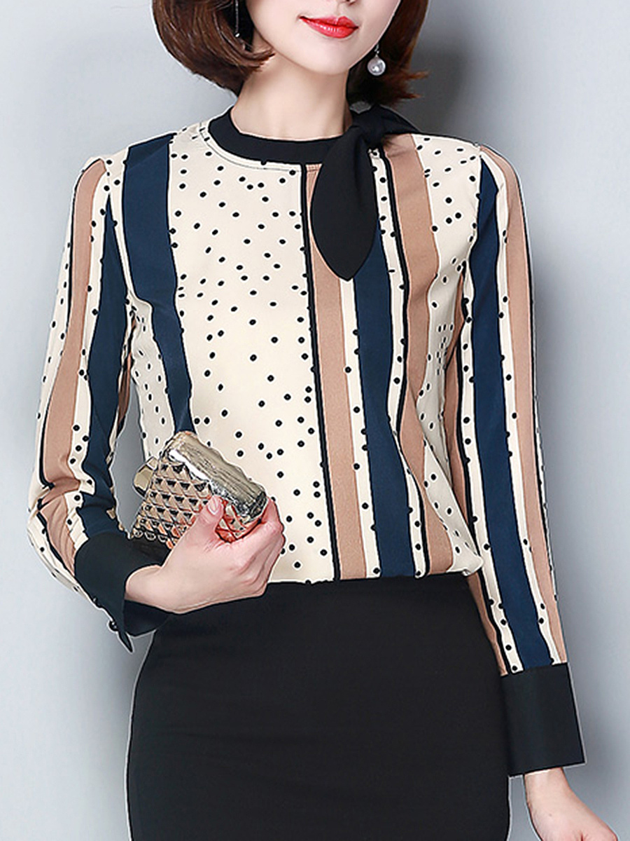 Autumn Spring  Polyester  Women  Crew Neck  Bowknot  Polka Dot Vertical Striped  Long Sleeve Blouses