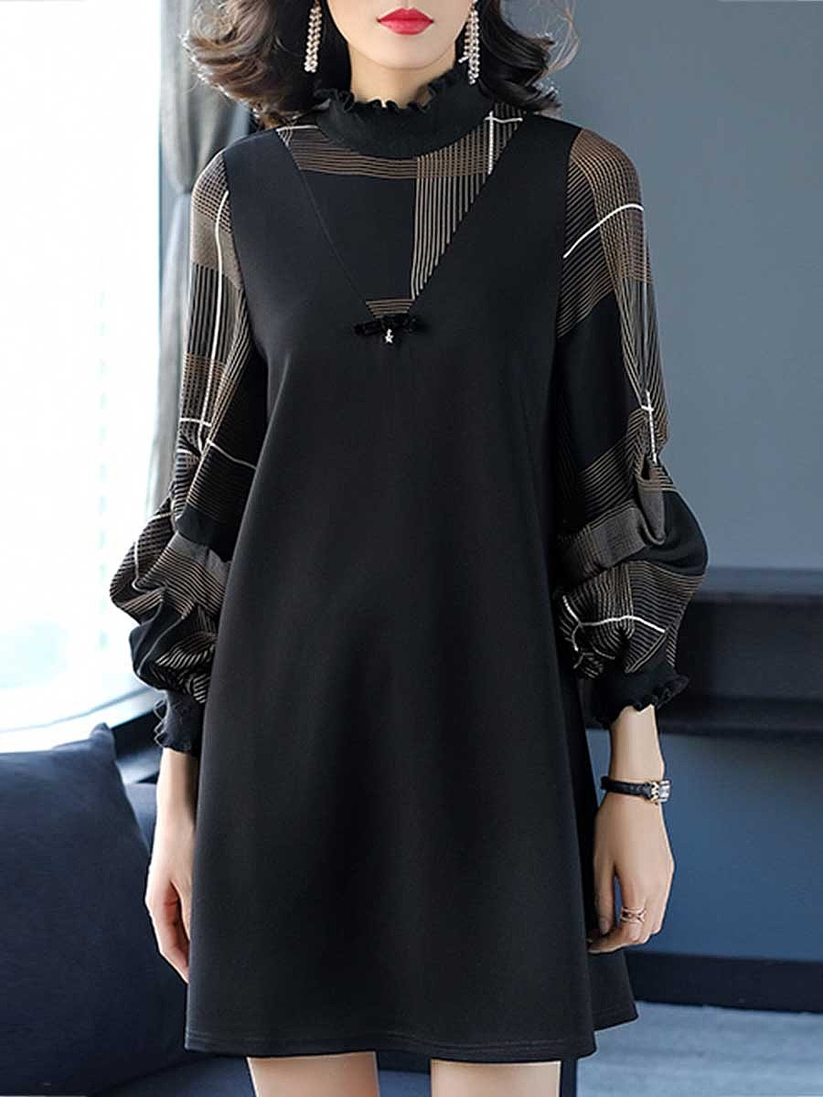 Band Collar  Patchwork  Printed  Polyester Shift Dress